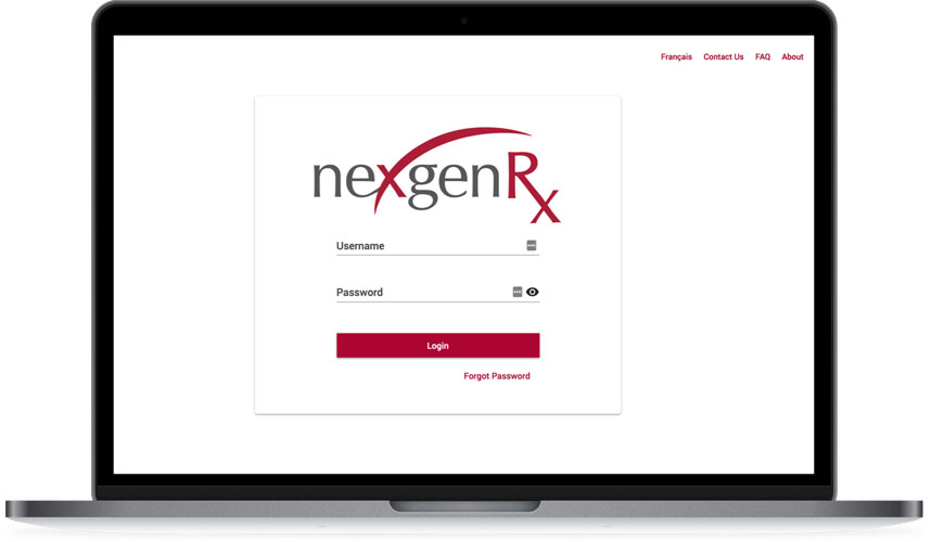 A laptop displaying the Nexgen Rx login screen.