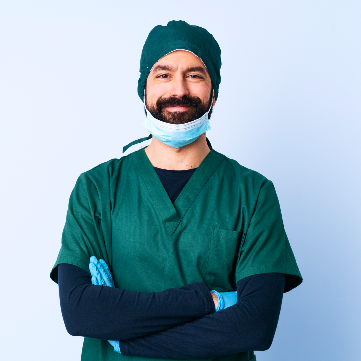 A male Doctor photo wearing face mask standing