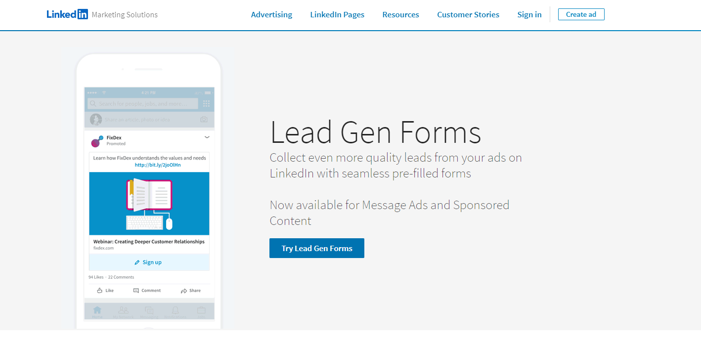 Lead Gen Forms - Linkedin automation tools