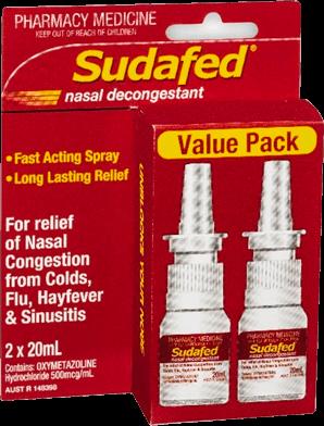 Sudafed Nasal Spray 20ml 2 Pack