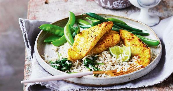 Turmeric Fish With Spinach Rice