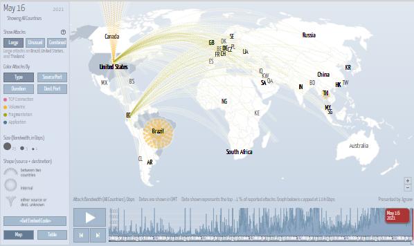 mapa de ataques DDos