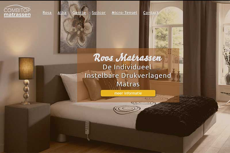 screenshot roos matrassen website