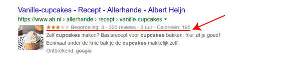 google uitgebreide resultaten voorbeeld