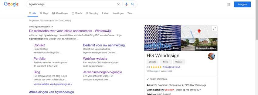 screenshot van de google zoekpagina met daarop een local box van hg webdesign
