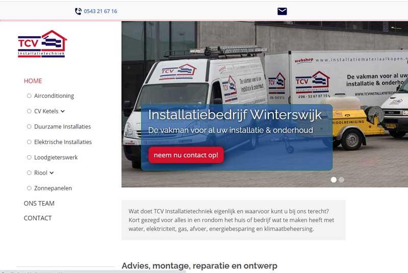 screenshot website tcv installatietechniek