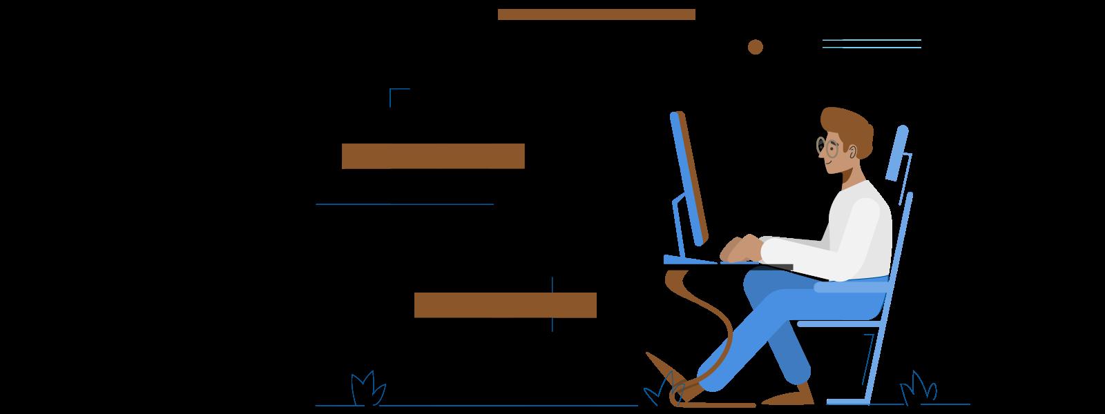illustratie persoon achter computer aan het werk