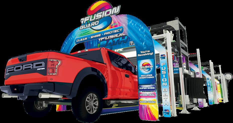 3d truck entering car wash