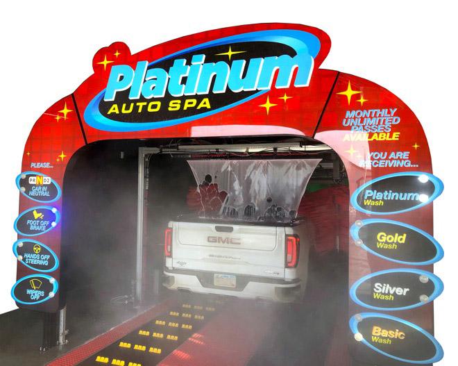 platinum wash entrance sign