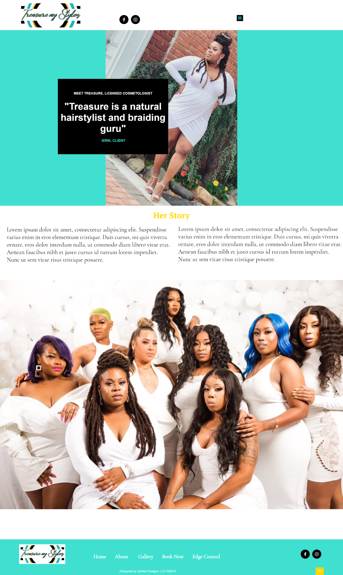 Treasure My Stylez About Page, Responsive Web Design by UpNext Designs LLC