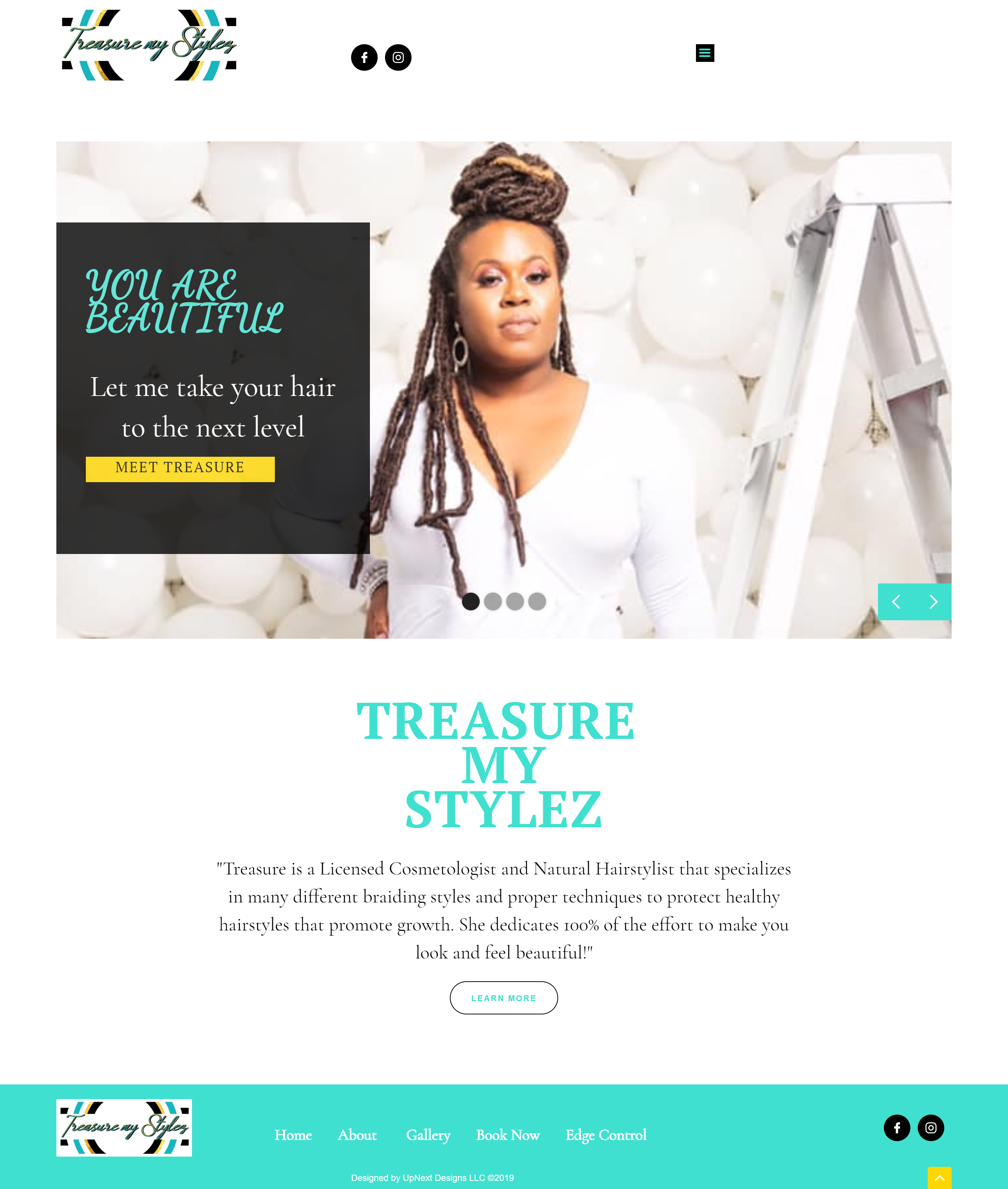 Treasure My Stylez Home Page, Responsive Web Design by UpNext Designs LLC