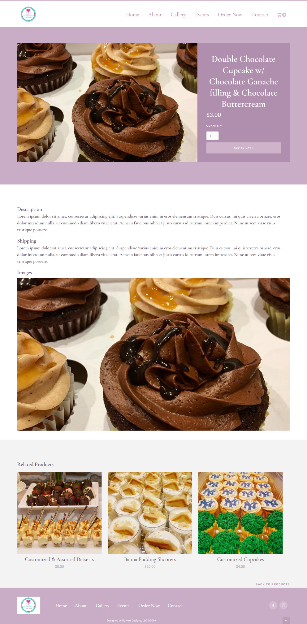 Stay Sweet Desserts responsive web design by UpNext Designs LLC, ecommerce