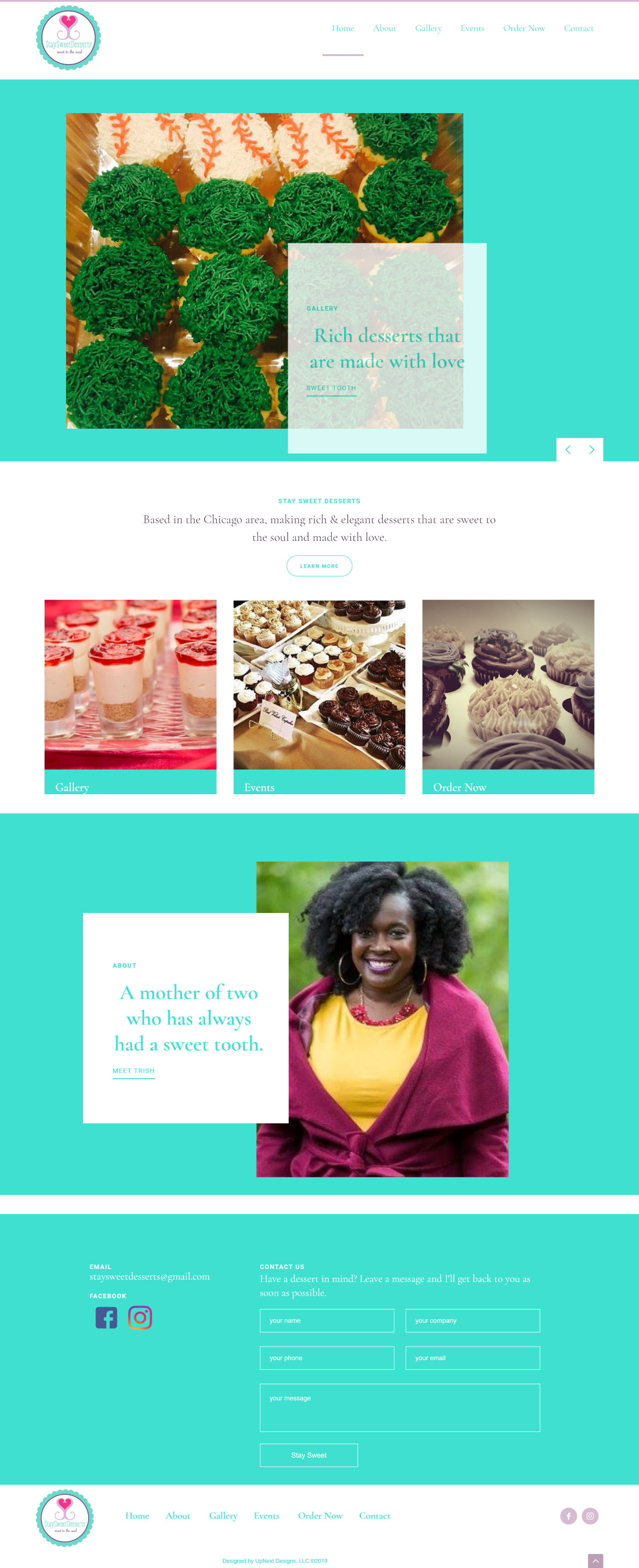 Stay Sweet Desserts responsive web design by UpNext Designs LLC, home page