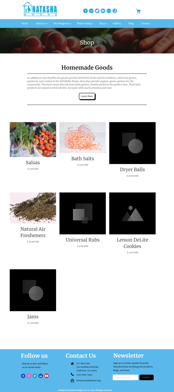 NATASHA House web design by UpNext Designs LLC. e-commerce