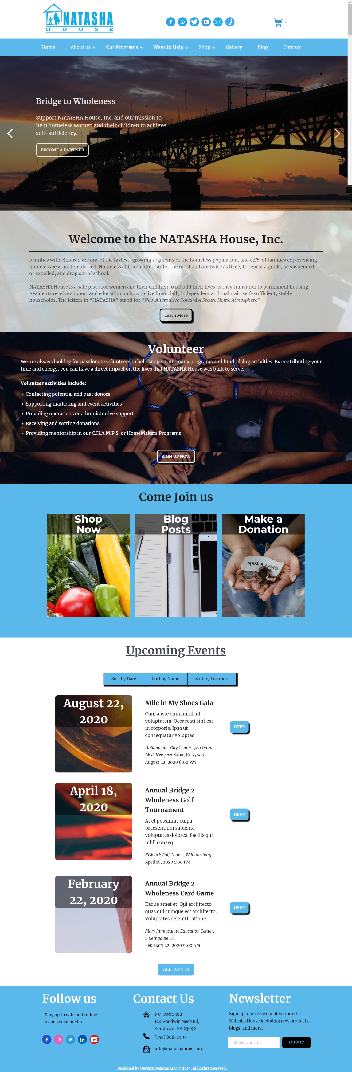 NATASHA House web design by UpNext Designs LLC, About page