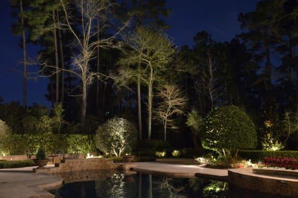 Pond Landscape Lighting Company The Woodlands Texas