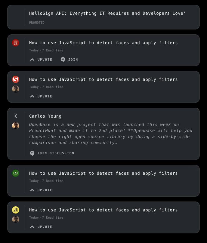 Screenshot of list view