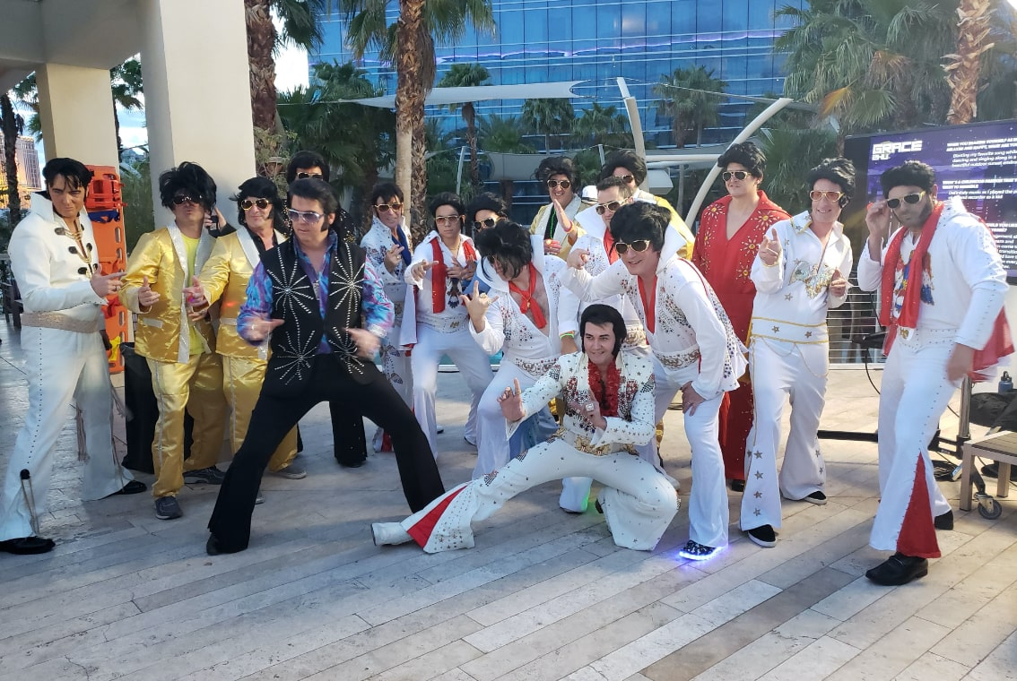 A collections of Vegas Elvis impersonators