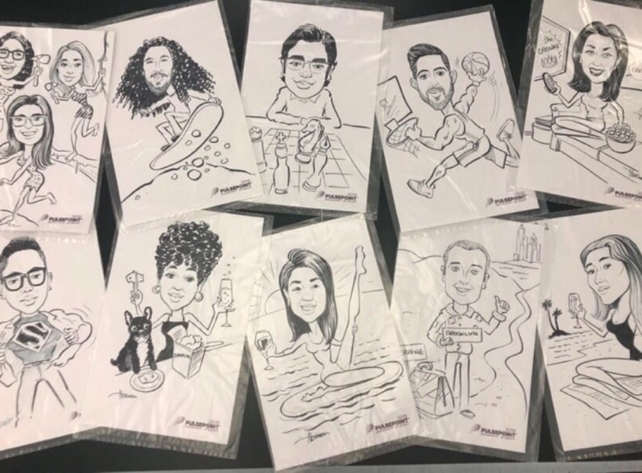 A set of team member caricature drawings
