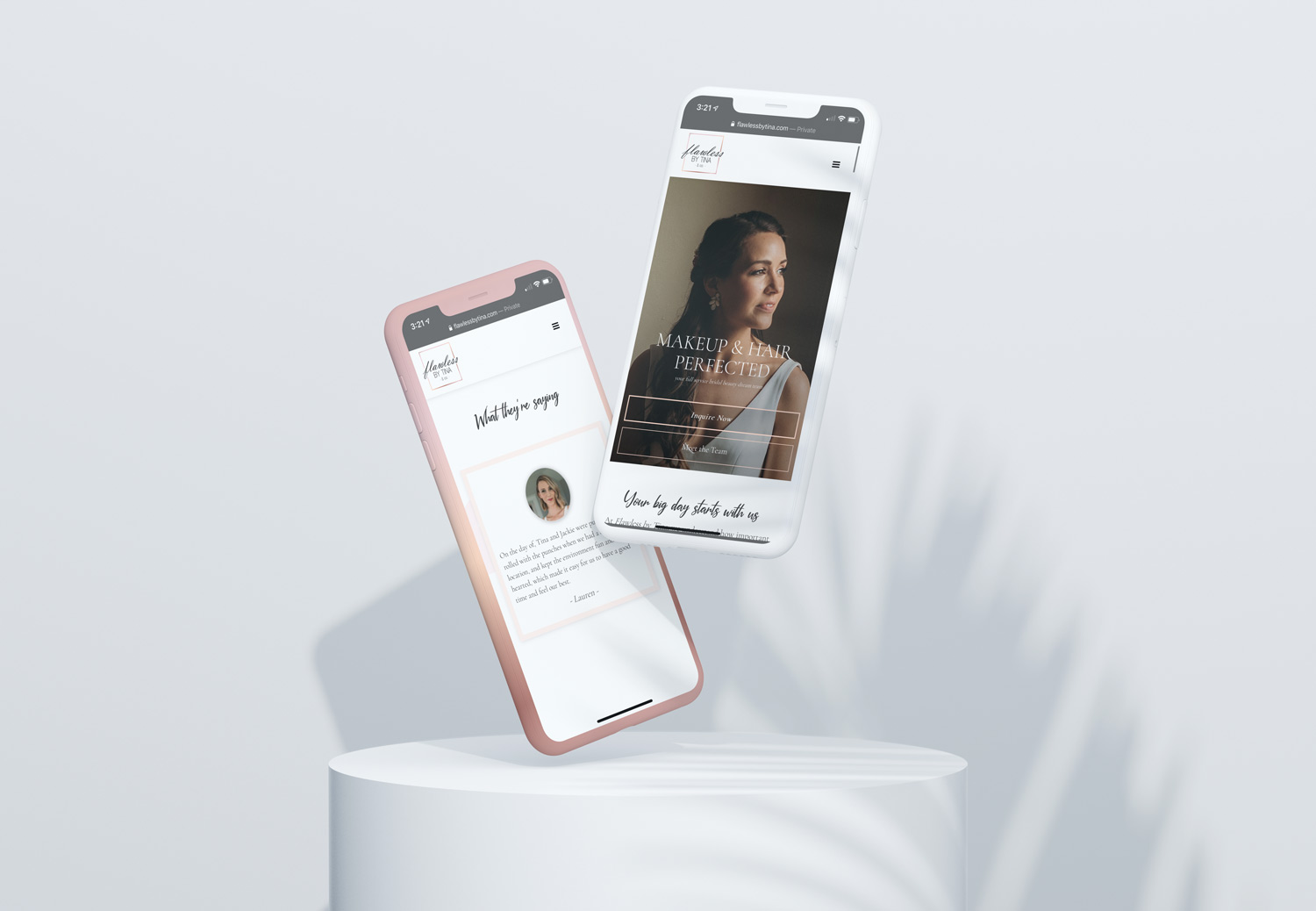 flawless by tina mobile responsive mockup