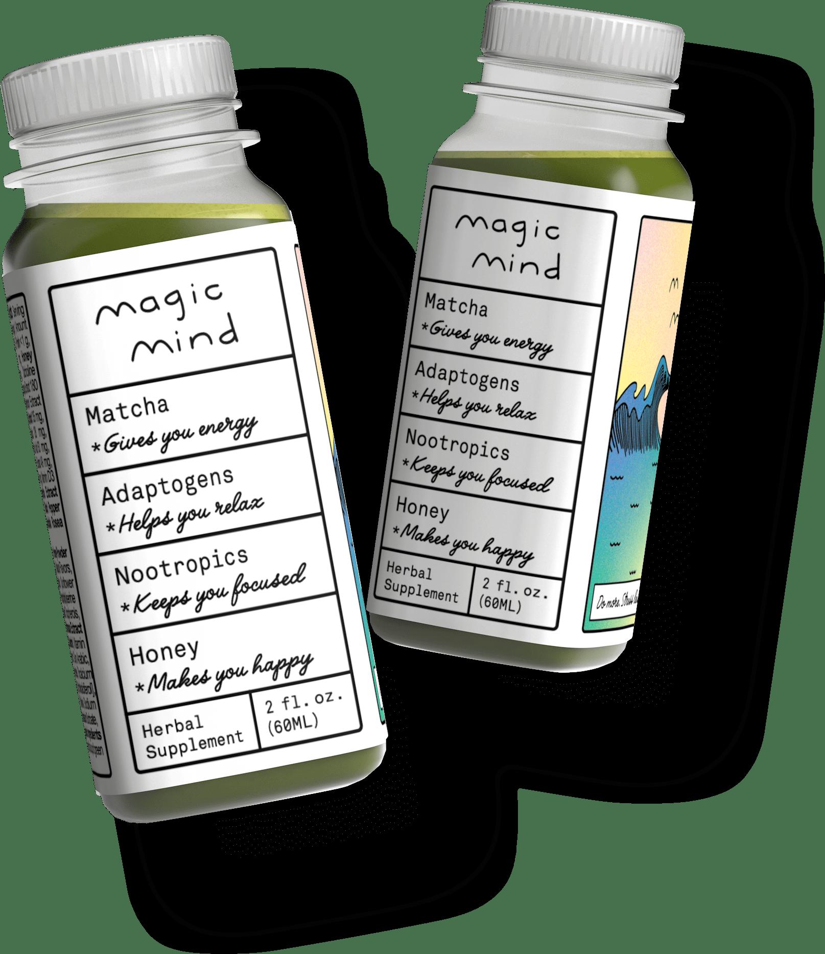 3d Render of two Magic Mind bottles.