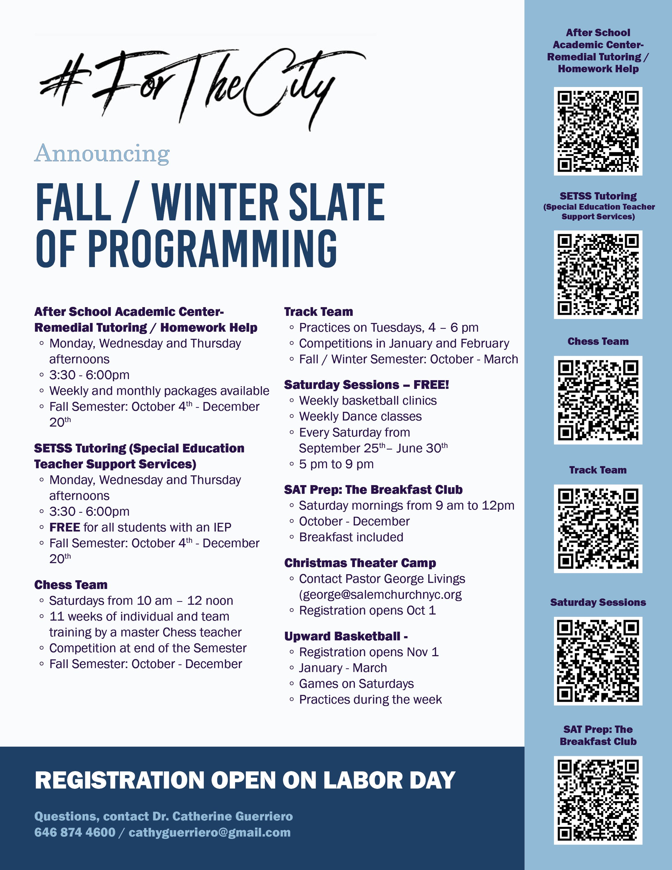 For The City Fall and Winter Schedule
