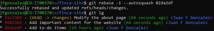 Rebased commit log