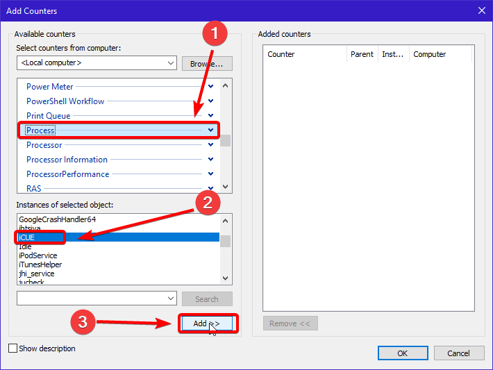 Adding Specific Process to Perfmon in Windows