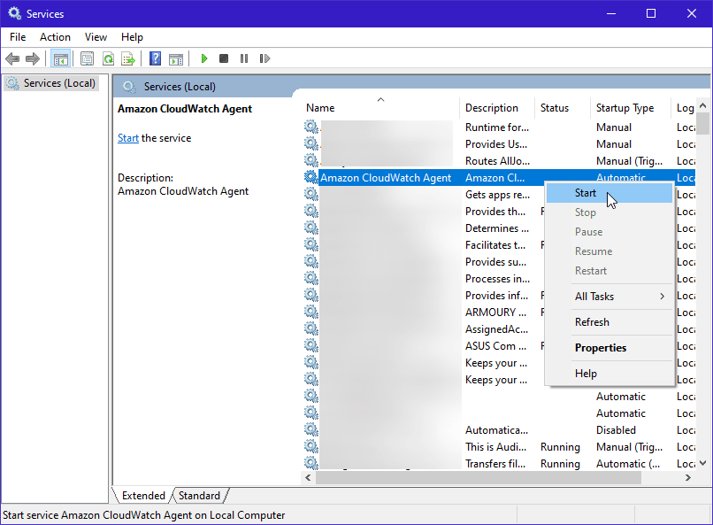 Starting CloudWatch Agent Service in Windows