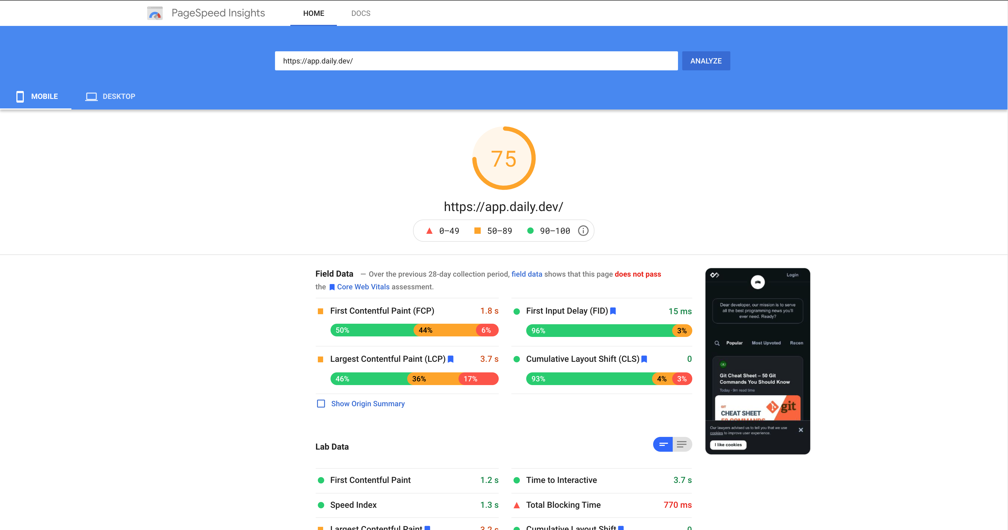 PageSpeed report - score 75 out of 100