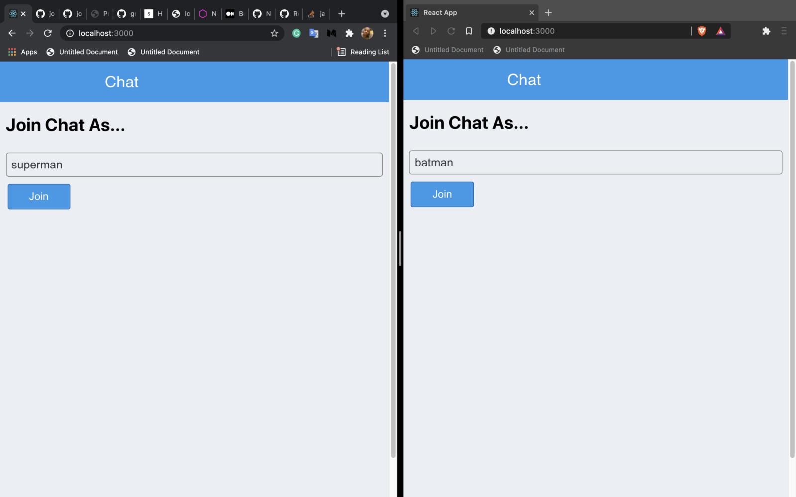Chat login Page