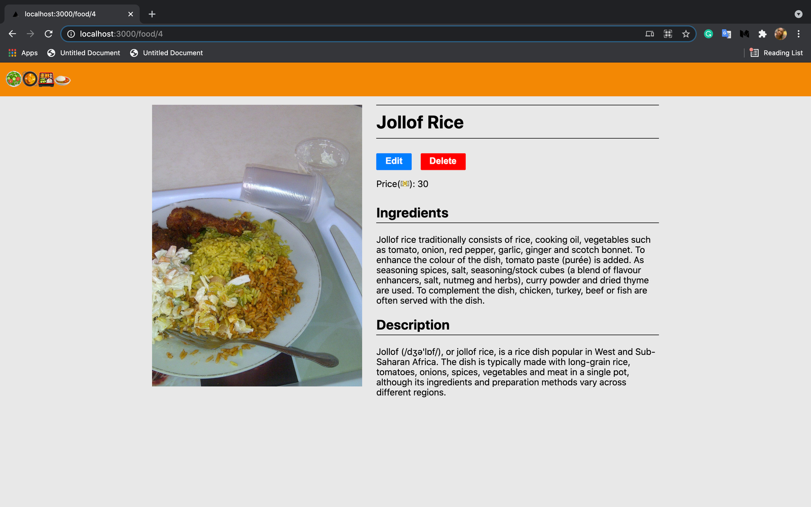 View a food recipe