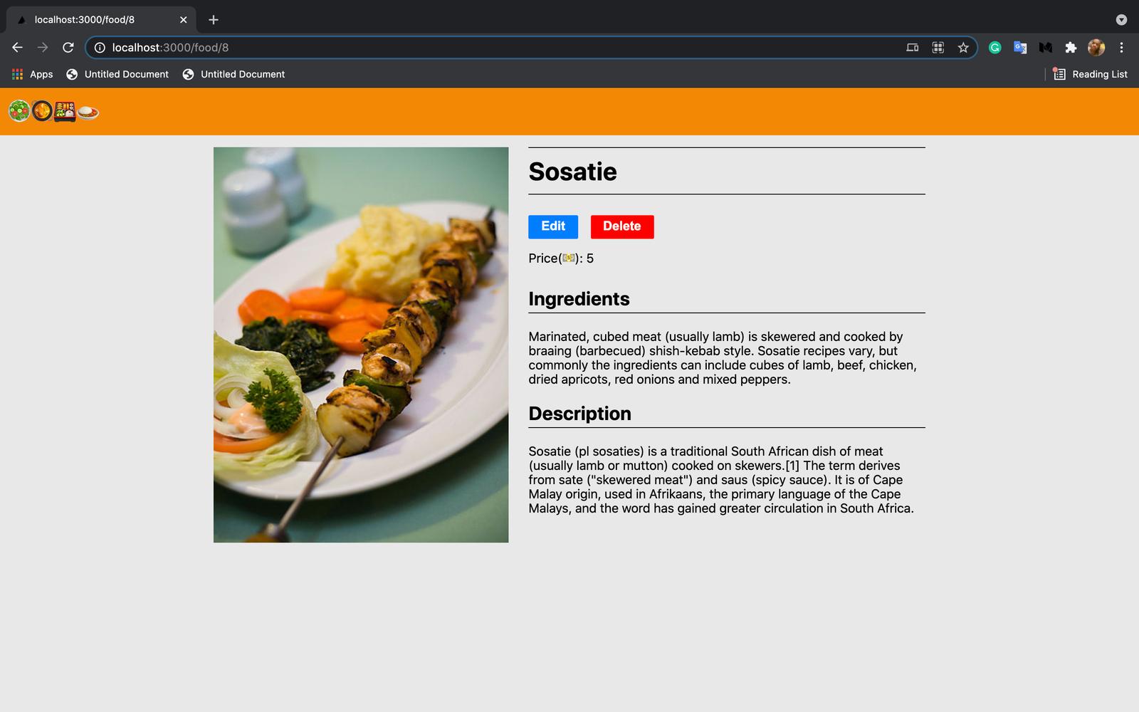 Viewing Sosatie food recipe