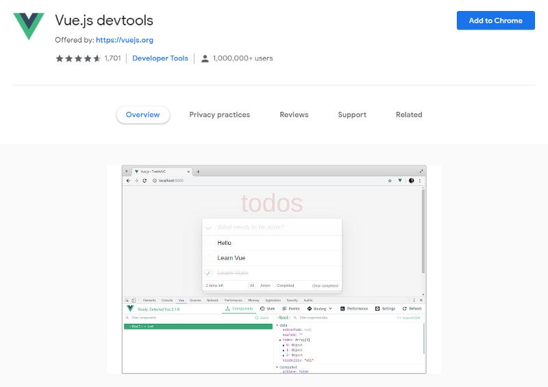 Vue.js devtools Chrome Extension