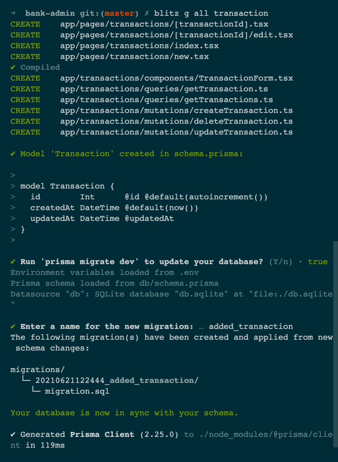 Generate all files for the Transaction model
