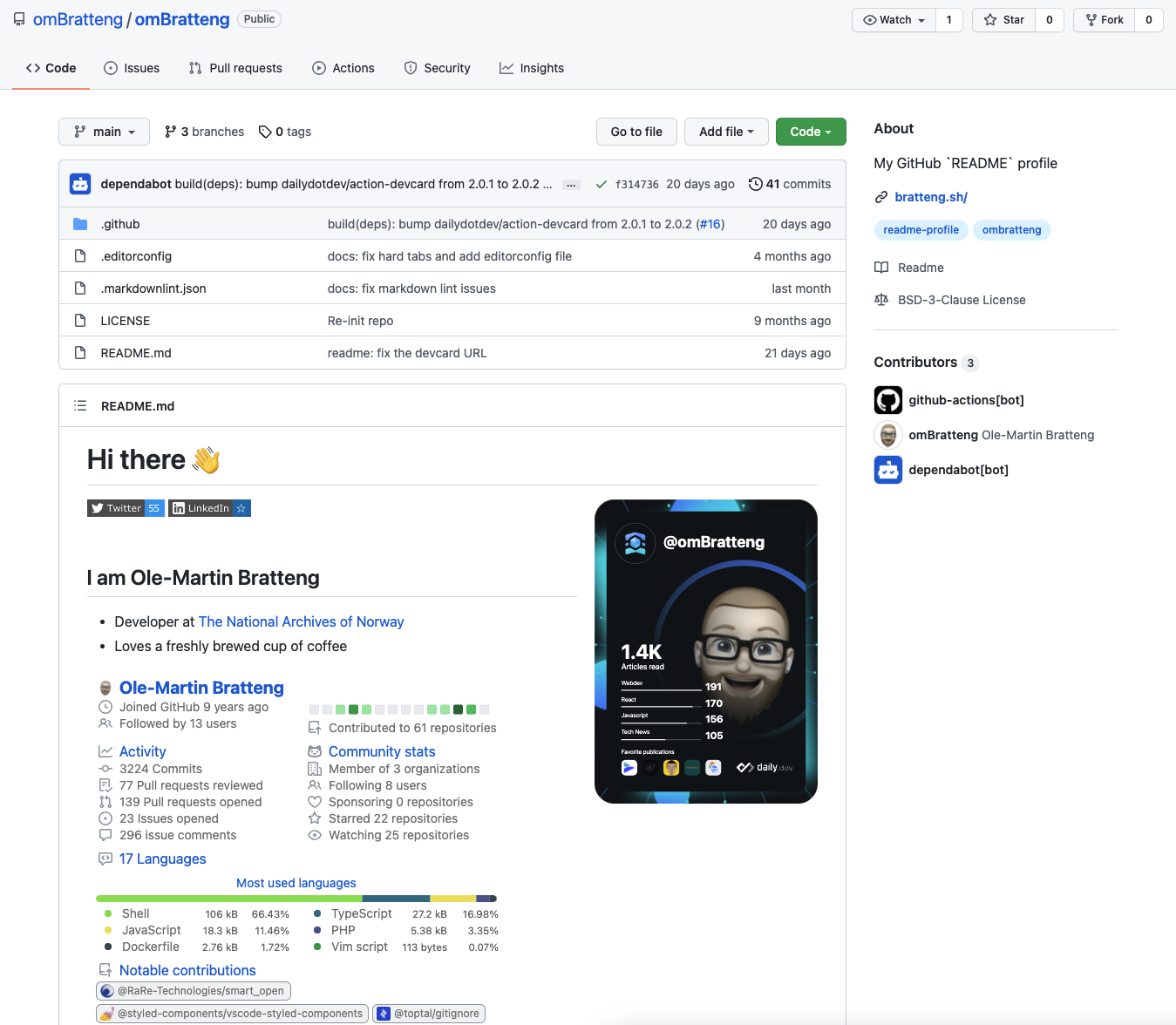 Ole-Martin GitHub profile with daily.dev DevCard