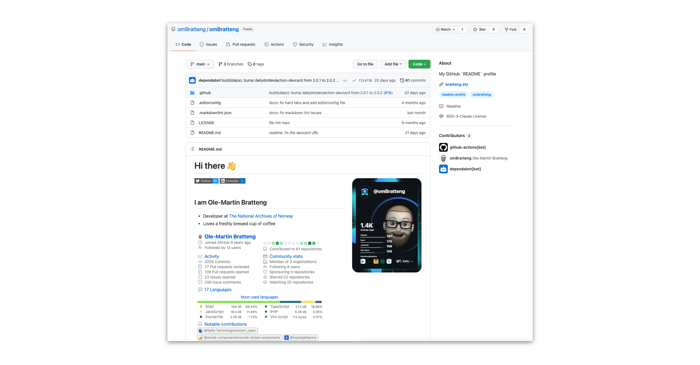 Adding the daily DevCard to your GitHub profile