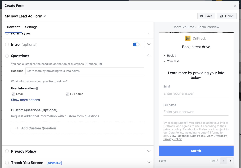 Facebook lead ad form screenshot