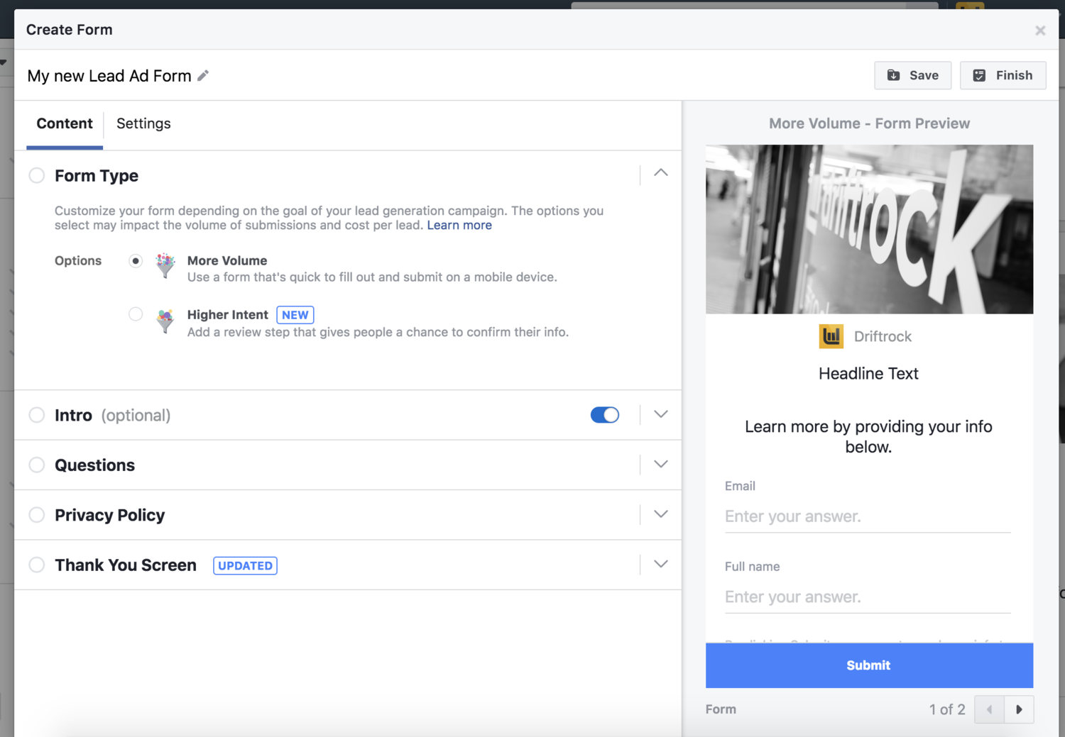 Facebook lead ads high intent feature