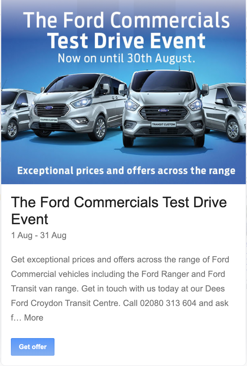 Dees Ford Croydon used Google My Business Event post to promote their test drive event for commercial vehicles.