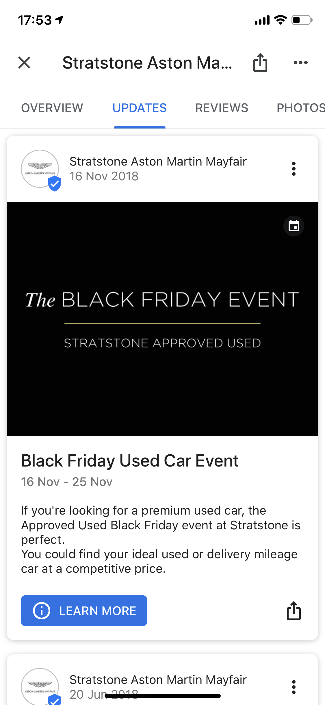 Stratstone Aston Martin Mayfair used Google My Business post to promote their Black Friday Used Car Event.