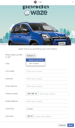 Fiat uses a simple and short lead form that loads within Facebook to collect lead details