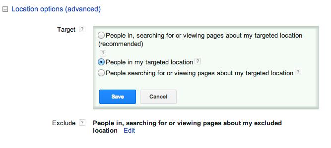 Google AdWords Location Options