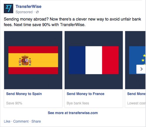 Transferwise carousel ad