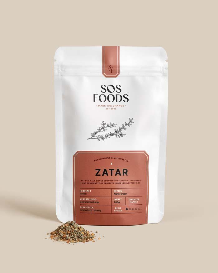 SOS Foods: Pack shot, Zatar