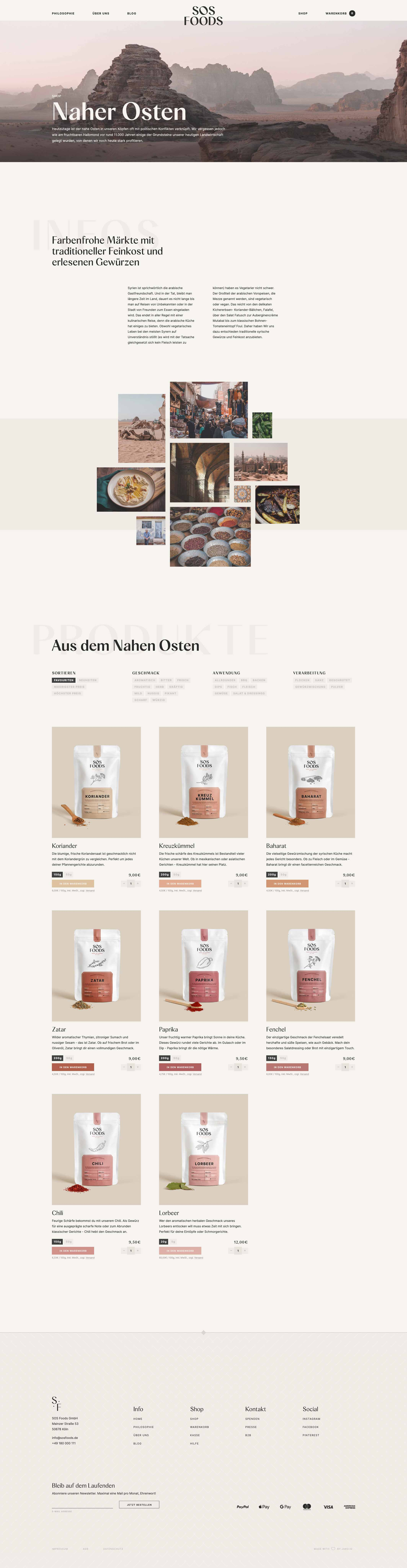 SOS Foods: Webdesign of region page, Middle East, Desktop breakpoint