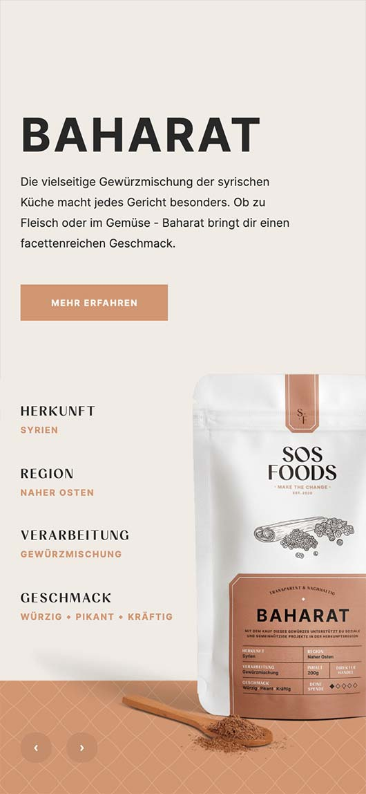 SOS Foods: Webdesign of product page, Baharat, Mobile breakpoint