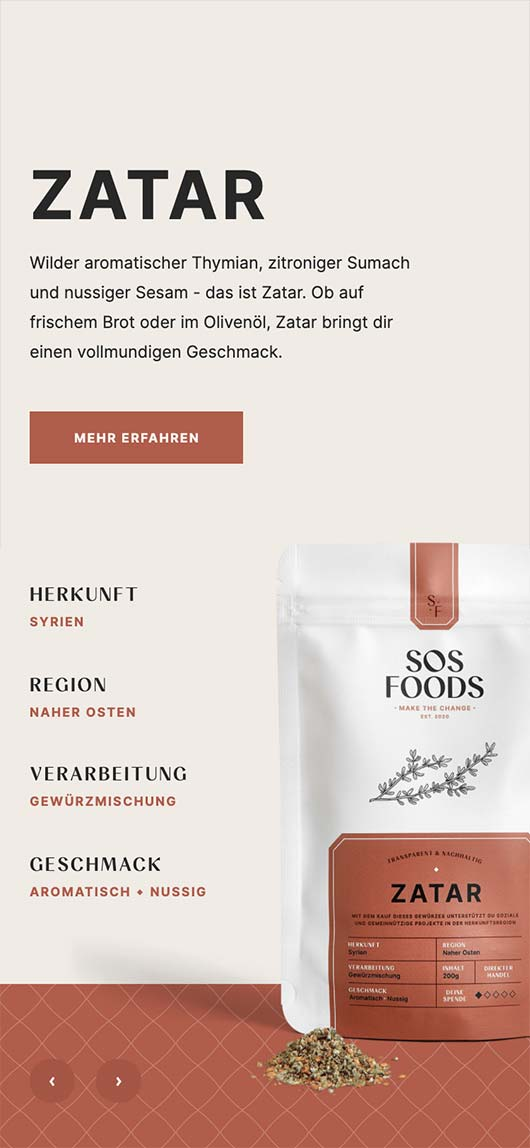 SOS Foods: Webdesign of product page, Zatar, Mobile breakpoint