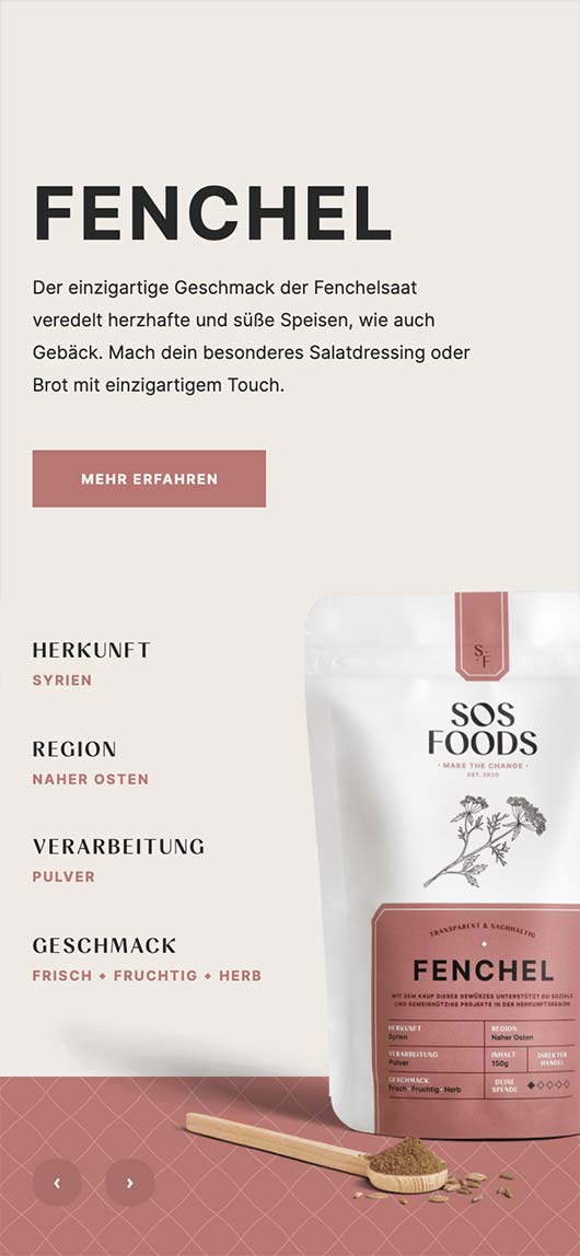 SOS Foods: Webdesign of product page, Fennel, Mobile breakpoint
