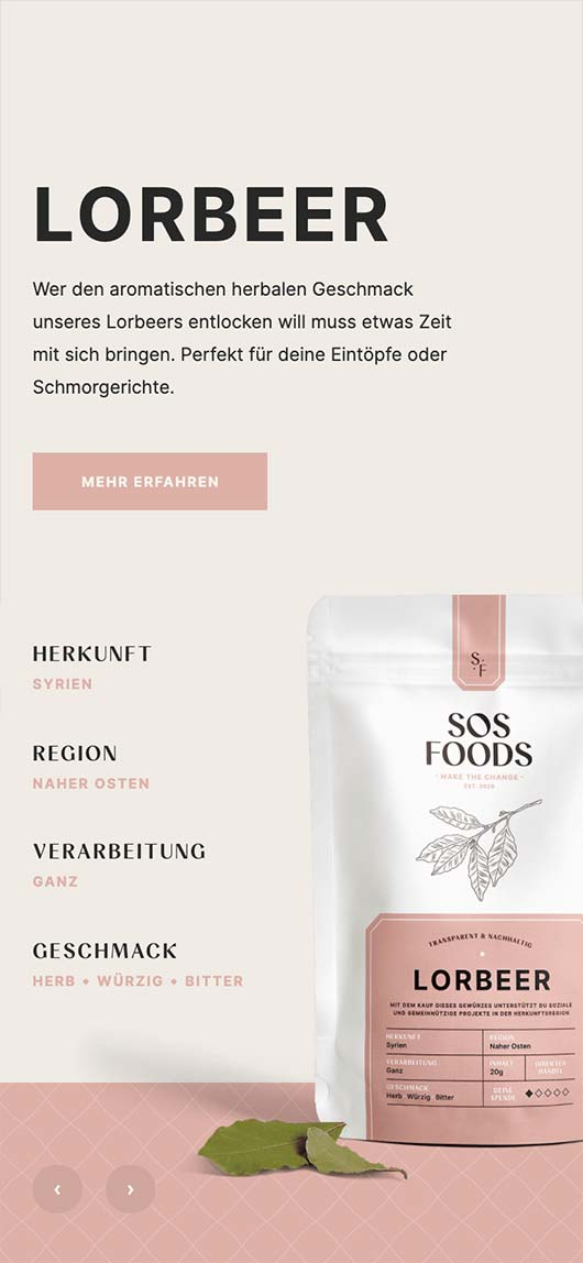 SOS Foods: Webdesign of product page, Bay leaves, Mobile breakpoint